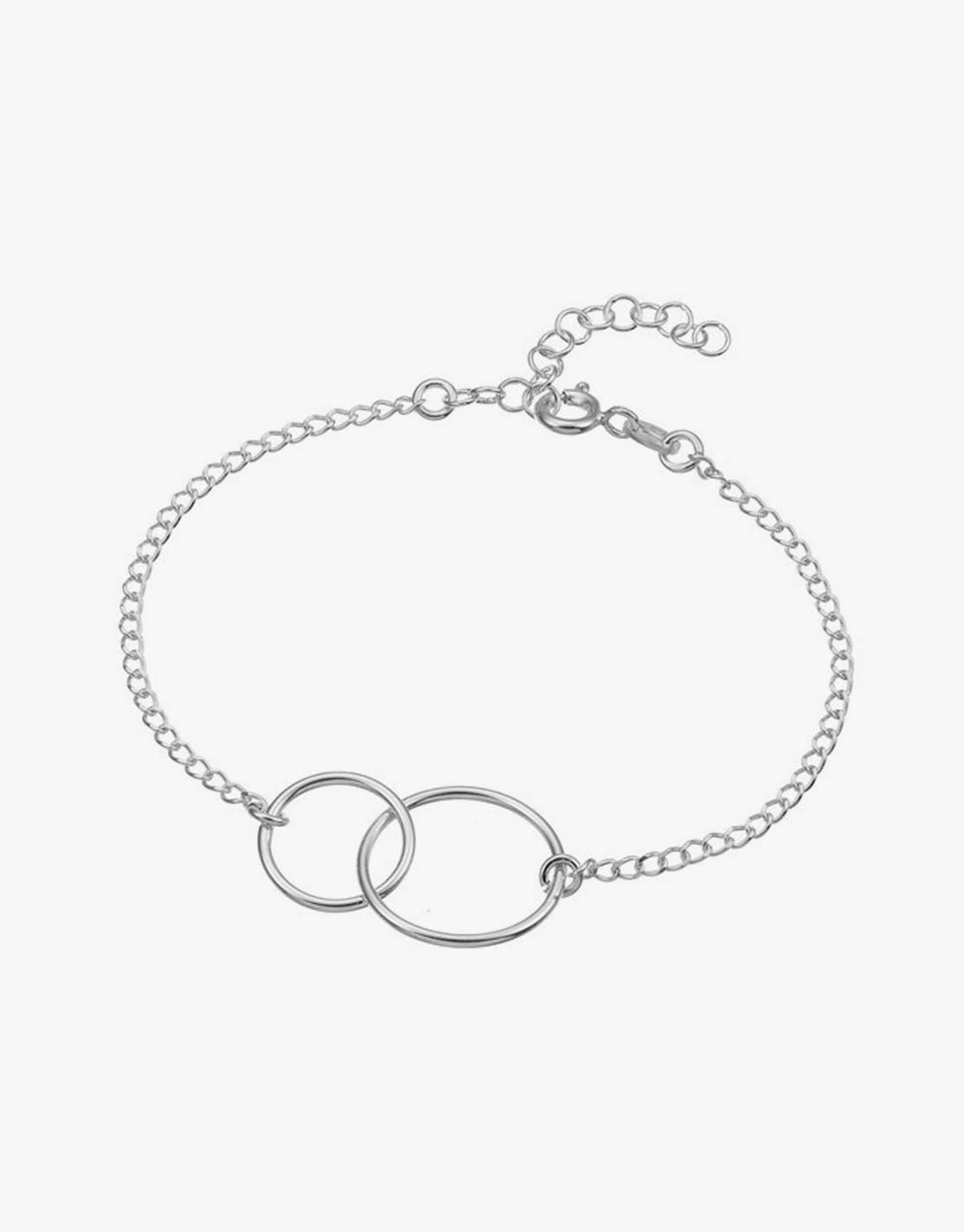 Silber Armband Mit 2 Umschlungenen Ringen