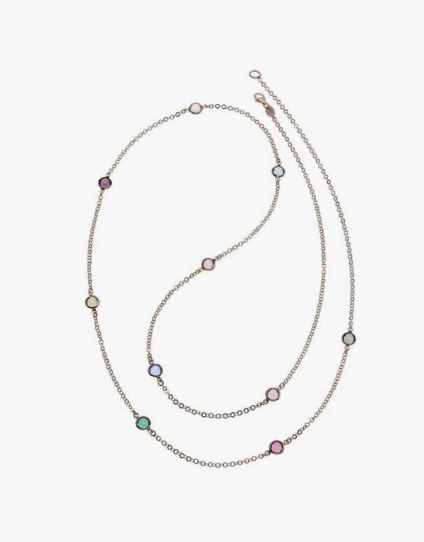 Verschiedenfarbige Kristall Halskette Rosé Vergoldet