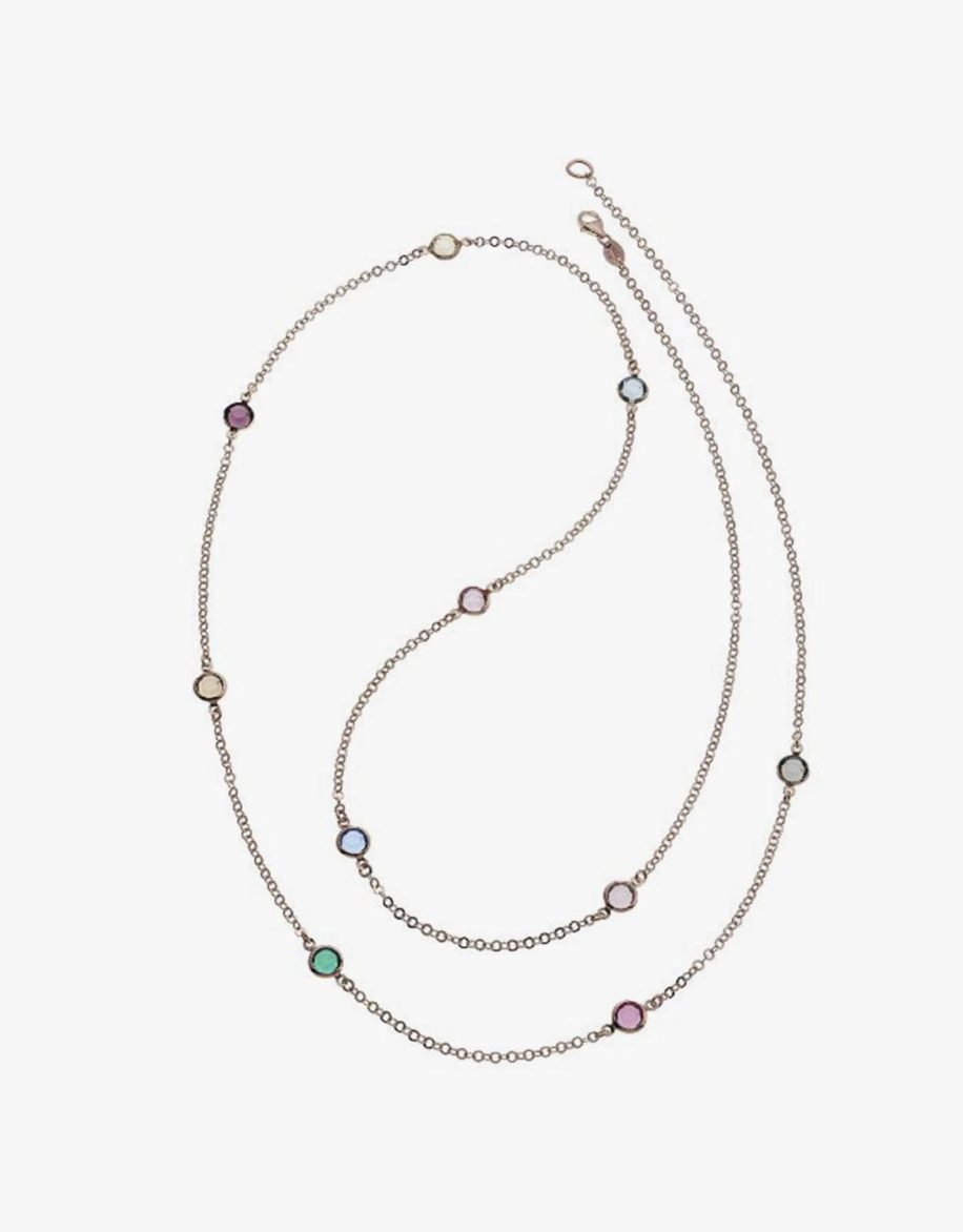 Multicolored Crystal Necklace Rosé Gold Plated