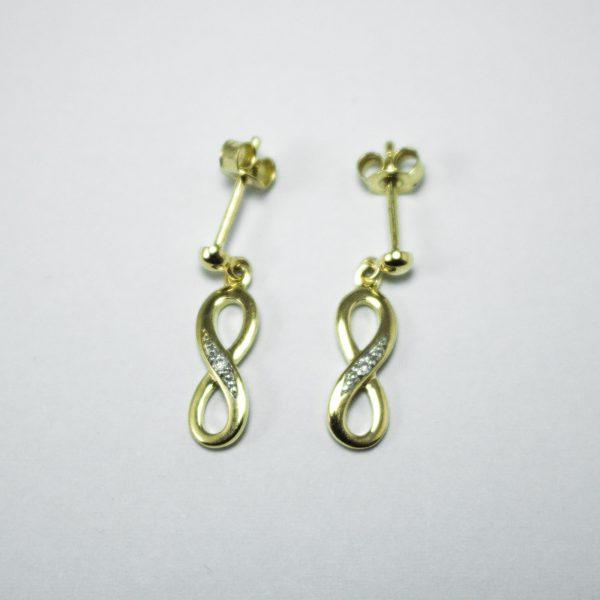 375 Gold Unendlichkeits-Ohrringe mit Diamant