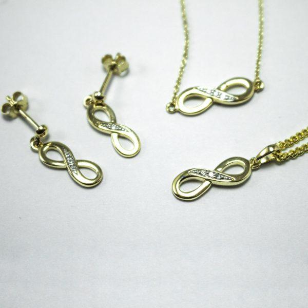 375 Gold Unendlichkeits-Set mit Diamanten